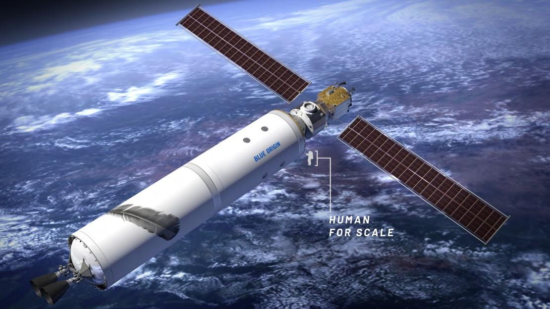 <p>Проект обитаемого автономного модуля Blue Origin на орбите Земли.</p>