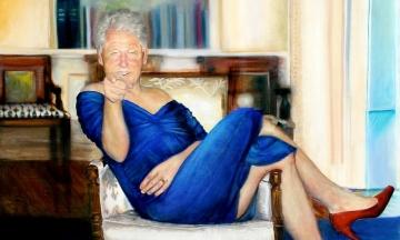 Daily Mail: У маєтку Епштейна знайшли картину, на якій зображений Білл Клінтон у синій сукні та на червоних підборах