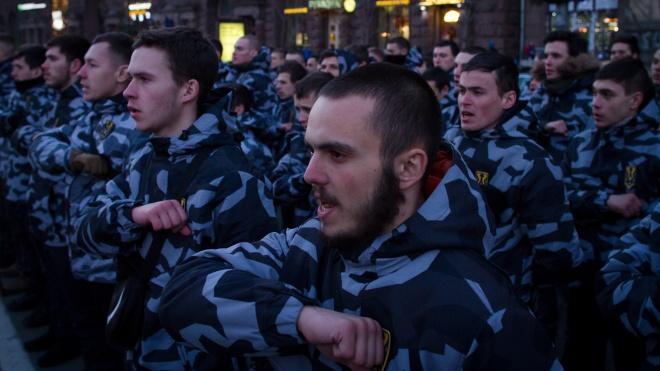 Тысячи людей из «Нацкорпуса» и «Национальных дружин» прошлись по центру Киева маршем. На этот раз без фаеров и кричалок. Фоторепортаж