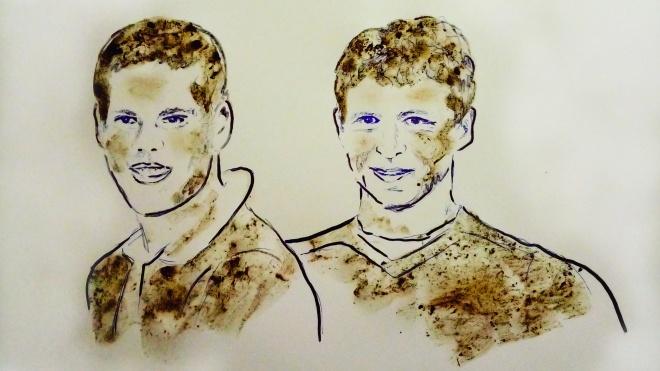 Художница нарисовала грудью и грязью портреты российских футболистов, устроивших драку в Москве