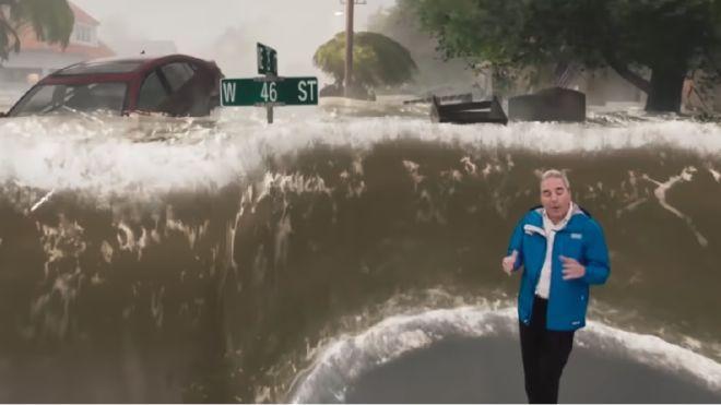 Трехметровая стена воды. Американский телеканал поместил ведущего прогноза погоды в центр урагана «Флоренс»
