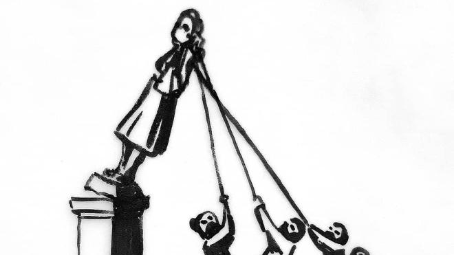 Вуличний художник Бенксі присвятив роботу поваленому в Бристолі пам'ятнику работорговцю