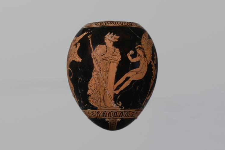 Древнегреческая терракотовая ваза в форме страусиного яйца, примерно 420—410 год до н. э.