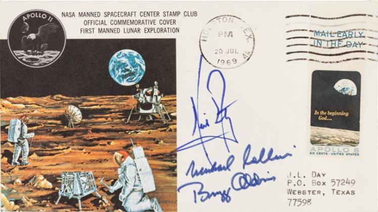 Конверт с автографами Нила Армстронга, Базза Олдрина и Майкла Коллинза.