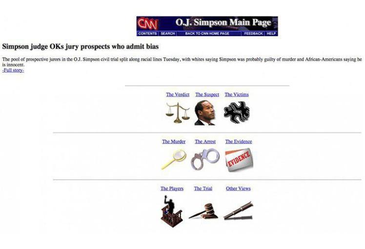 Главная страница амерканской телекомпании CNN с новостью про суд над О. Джей Симпсоном. В сети с 1995 года