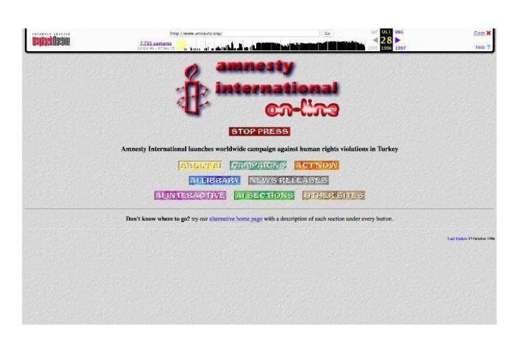 Сайт міжнародної неурядової організації з прав людини Amnesty International був створений в 1994 році