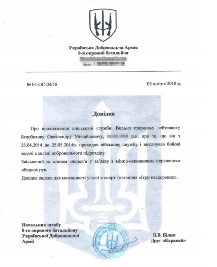Довідка начальника штабу 8-го батальйону («Аратта») Української добровольчої армії.