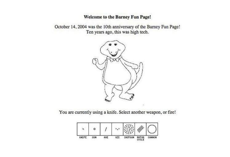 Ігрова фан-сторінка динозавра Барні, створена в 1994 році