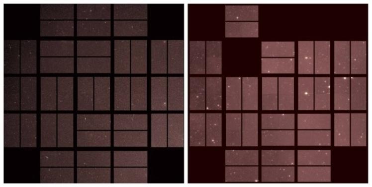 Перше (ліворуч) і останнє (праворуч) фото, надіслані з телескопа «Кеплер».