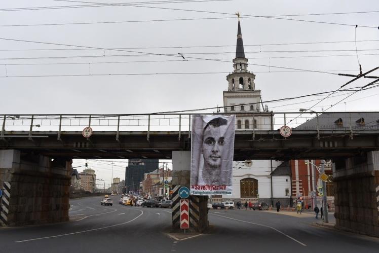 Баннер в поддержку Олега Сенцова в Москве, 22 марта 2019 года.