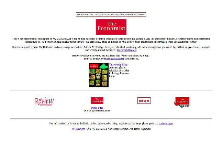 Сайт журнала The Economist вышел в 1994 году