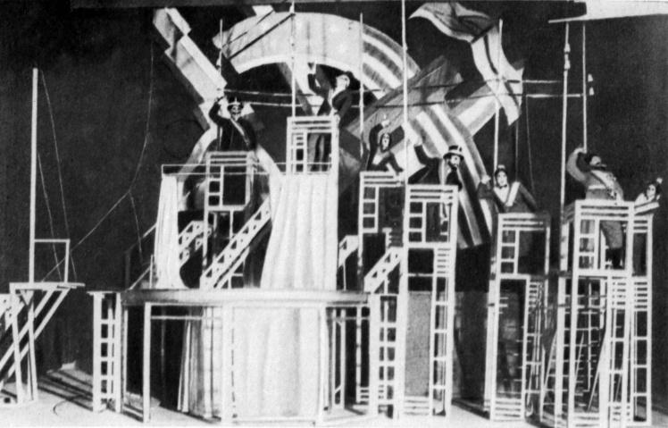 Сцена «Концерт держав» з вистави Ептона Сінклера «Джіммі Гіггінс» в постановці театру «Березіль», Київ, 1923 рік.