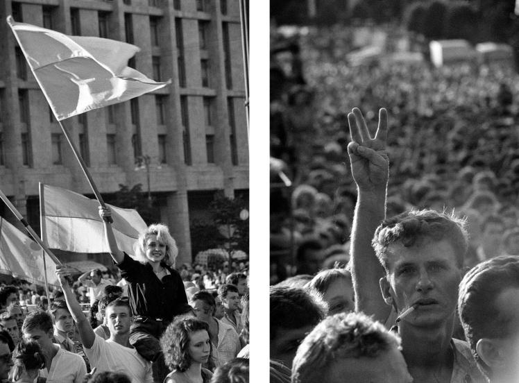 Шествие на Крещатике в честь Дня Независимости 16 июля 1991 года.