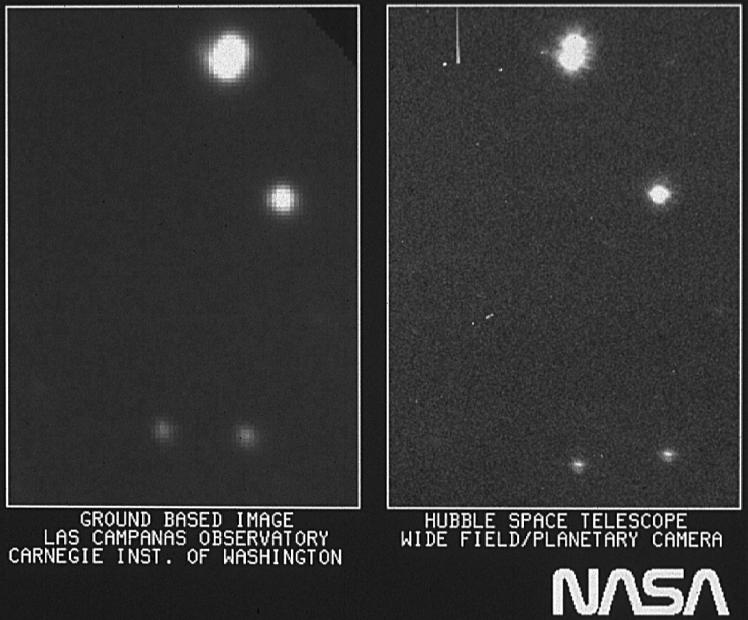 Первое изображение «Хаббла» (справа). Оно демонстрирует улучшенное разрешение и резкость по сравнению с наземными телескопами. Фото 20 мая 1990 года.