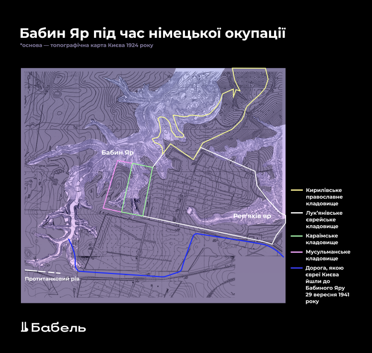 Історичні межі кладовищ встановили Громадський комітет «Бабин Яр» та історик Віталій Нахманович.