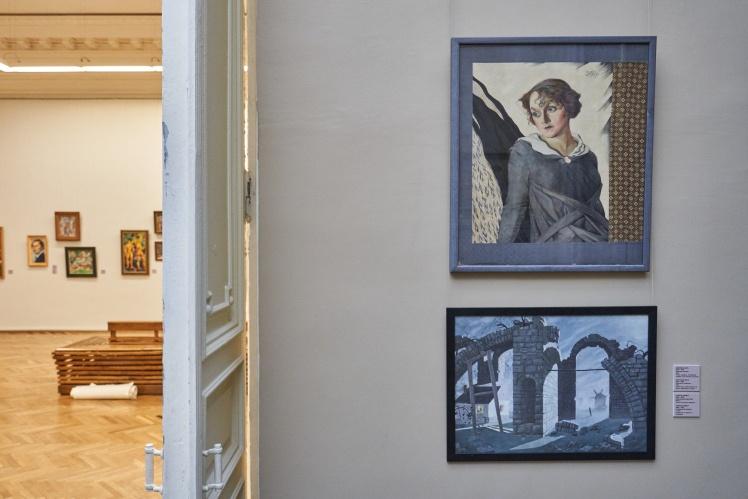 Михайло Жук, «Жіночий портрет»; Георгій Нарбут, «Архітектурна фантазія».