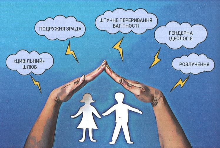 """Ілюстрація з підручника «Основи сім'ї», 11 клас. Тема «Загрози для інституції сім'ї. Офіційний і """"цивільний"""" шлюби»."""