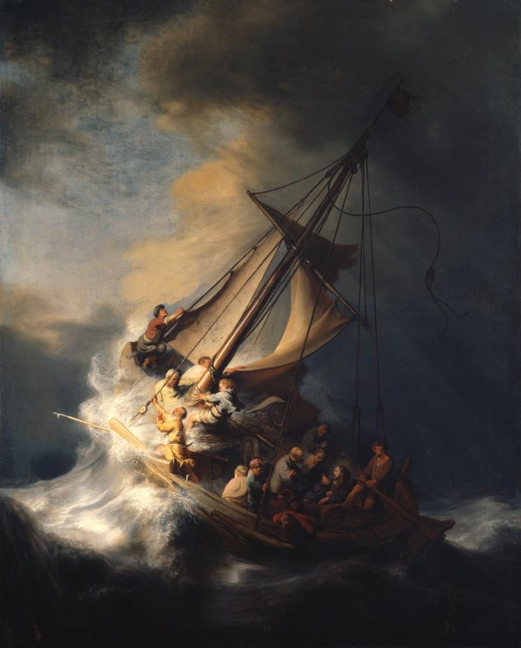 Рембрандт, «Христос во время шторма на море Галилейском». Единственный известный морской пейзаж художника, оценивается примерно в 100 миллионов долларов.