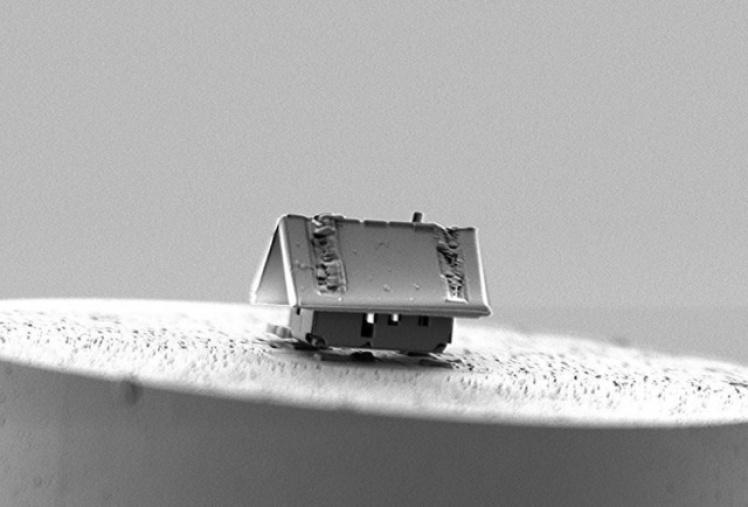 Микро дом из кремнезема. В компания Femto-ST (Безансон, Франция), используя ионный луч крошечного маневренного робота и систему впрыска газа, сумели построить дом из кремнезема длиной в 20 микрометров.