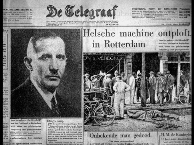 Повідомлення в нідерландській газеті De Telegraaf про вибух у Роттердамі, внаслідок якого загинув Євген Коновалець. 23 травня 1938 року.