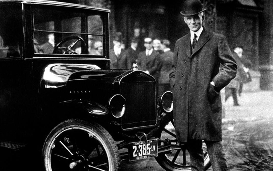 Генри Форд и автомобиль Ford Model T.