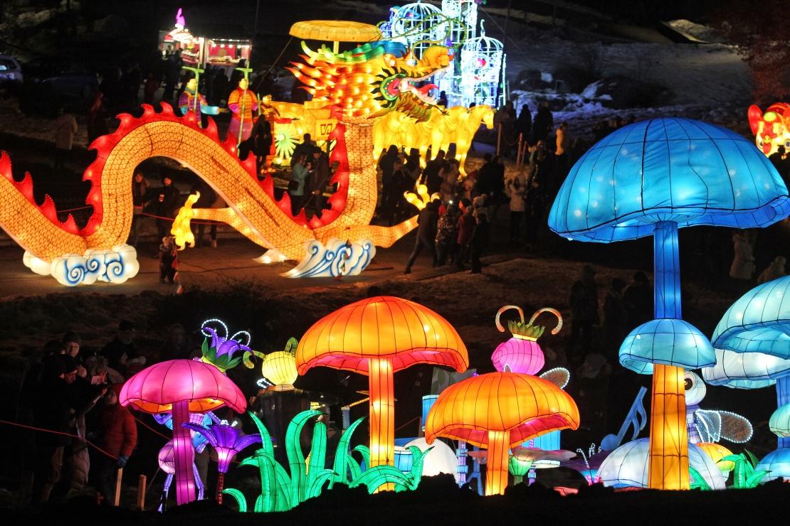 Наприкінці січня в кількох великих містах України влаштовували шоу на честь Китайського Нового року. Наймасштабніше відбулось у Києві на Співочому полі з фестивалем гігантських китайських ліхтариків, на створення яких витратили 15 тисяч лампочок і понад два кілометри шовку.