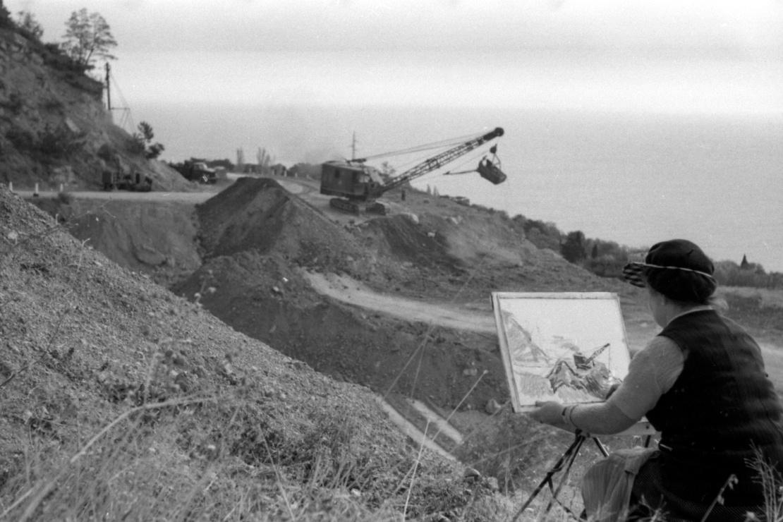 Строительство дороги Алушта — Ялта, октябрь 1959 года.