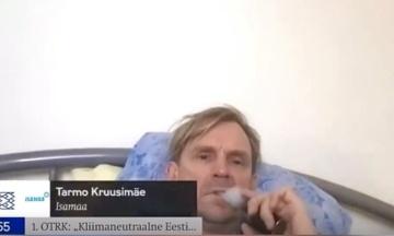 Эстонский депутат во время обсуждений климата лежал в постели и курил электронную сигарету