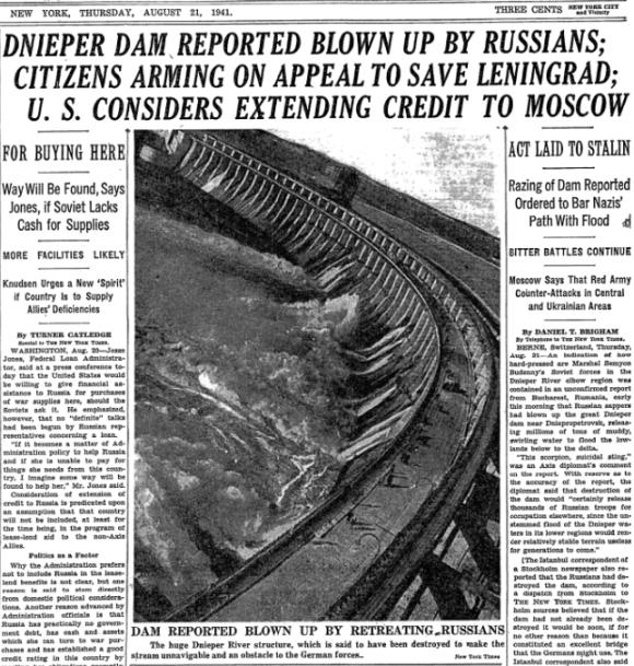 Номер The New York Times 21 августа 1941 года.