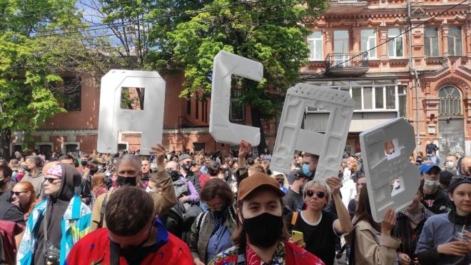 В Киеве проводят акцию против «милицейского сафари». Участники требуют отставки главы одного из управлений Нацполиции