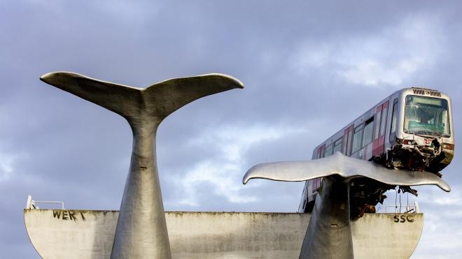 У Нідерландах люди зібрались подивитись, як зі скульптури китів знімають вагон метро. Вона не дала йому впасти в річку