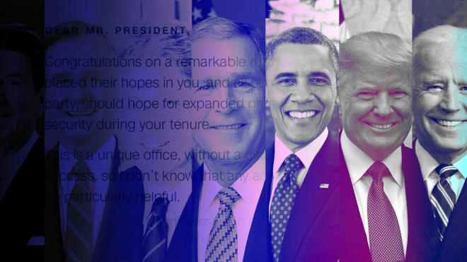 Дональд Трамп оставил Джо Байдену в Овальном кабинете письмо. Что именно он написал — неизвестно. До Трампа послания преемникам оставляли Рейган, оба Буша, Клинтон и Обама — вот что в них было