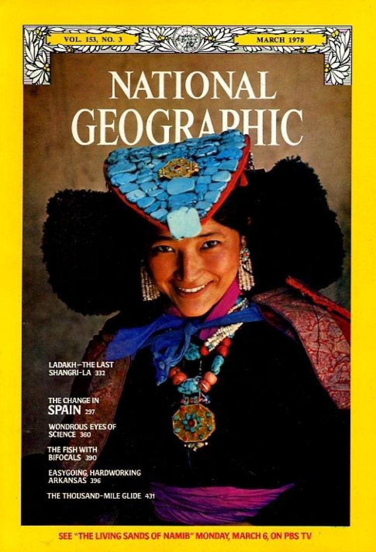 Березень 1978 року. Жінка гімалайського регіону Ладакх у національному вбранні. Культура цього регіону схожа з тибетською, довгий час він був закритий для іноземців.