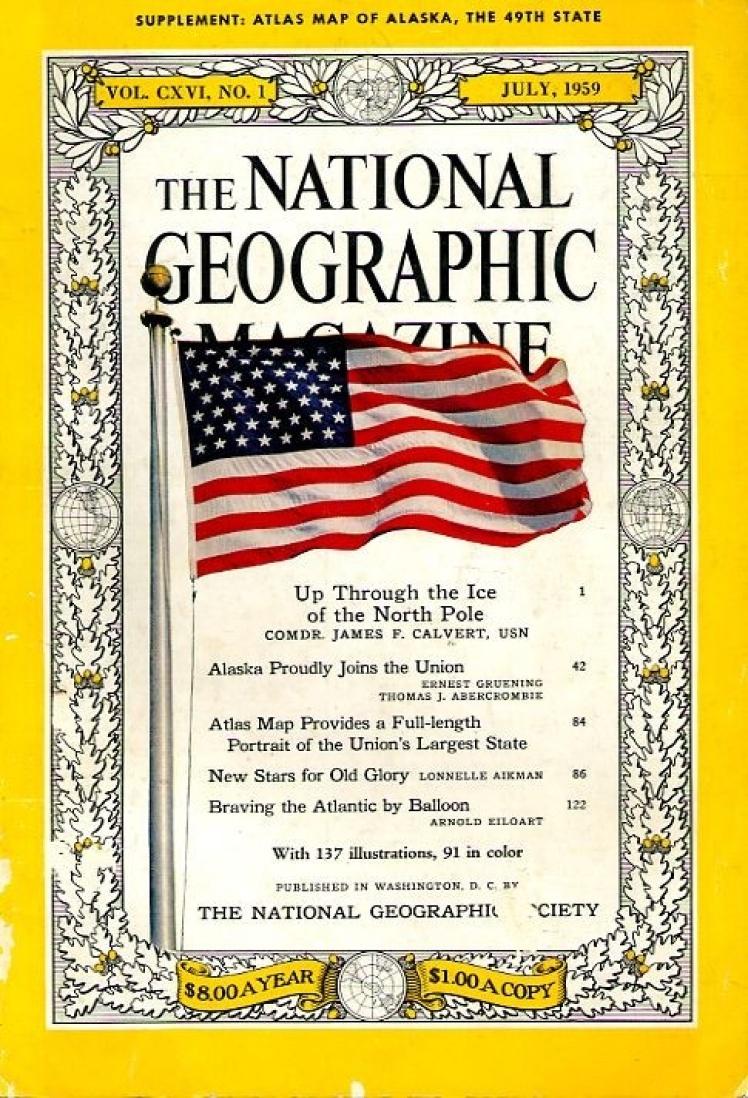 Липень 1959 року. Перше фото на обкладинці — прапор США з 49 зірками. Того року Аляска офіційно стала штатом.