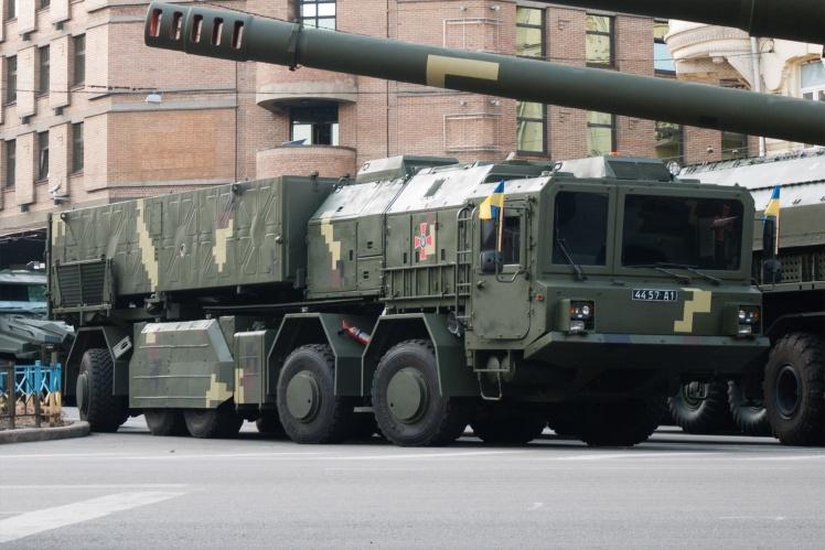 Український тактичний ракетний комплекс «Грім-2/Сапсан», репетиція військового параду до Дня Незалежності в Києві, 2018 рік.