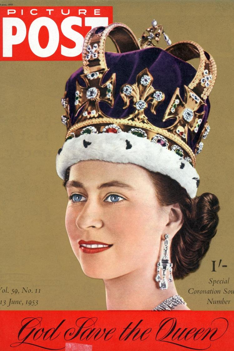 На фото: обкладинка Спеціального випуску сувенірної продукції, присвяченої коронації Єлизавети II, з першим рядком державного гімну Великої Британії «Боже, бережи Королеву», 13 червня 1953 року.