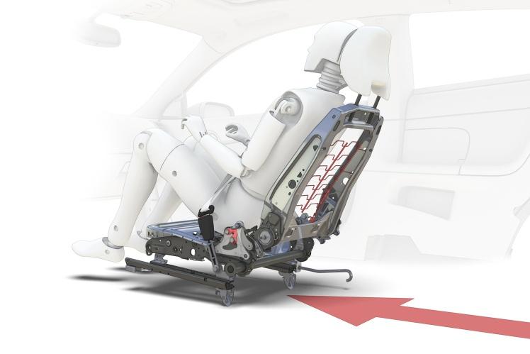 При столкновении система Volvo WHIPS откидывает передних пассажиров назад — так уменьшается нагрузка на позвоночник и снижается риск травм шеи.