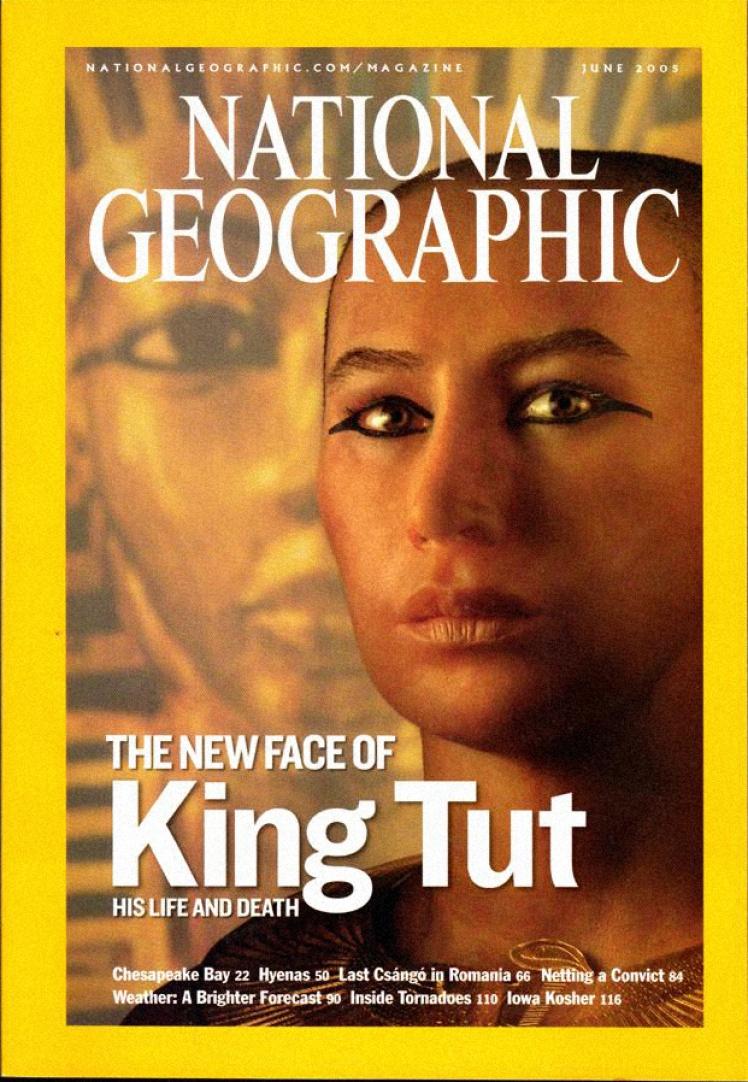 Червень 2005 року. На обкладинці реконструкція обличчя давньоєгипетського фараона Тутанхамона після комп'ютерної томографії.