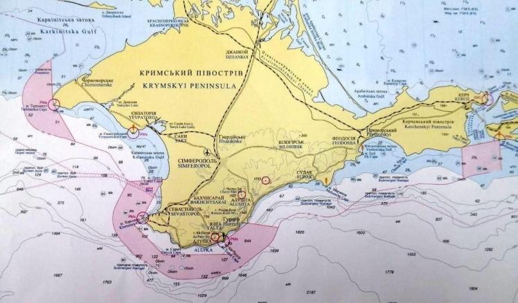 На карті виділені зони Чорного моря, які перекрила Росія