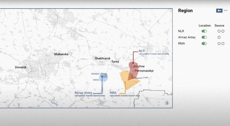 Багряним та помаранчевим позначено територію можливого запуску за версіями нідерландської та бельгійської установ. Блакитним — територію запуску за версією працівників концерну «Алмаз-Антей». Ця територія станом на 17 липня 2014 року була під контролем української армії. Скриншот із судового засідання.