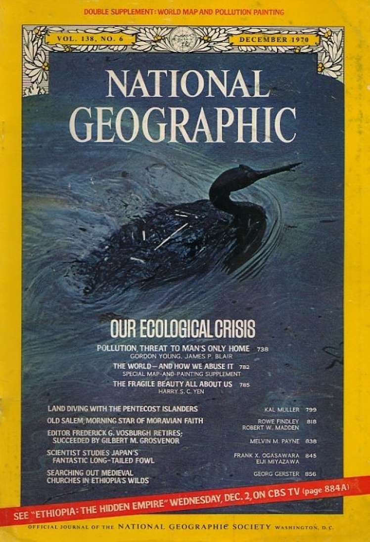 Грудень 1970 року. Центральні статті номера присвячені екологічній кризі. На фото водоплавний птах з роду західних поганок після розливу нафти біля узбережжя Каліфорнії.