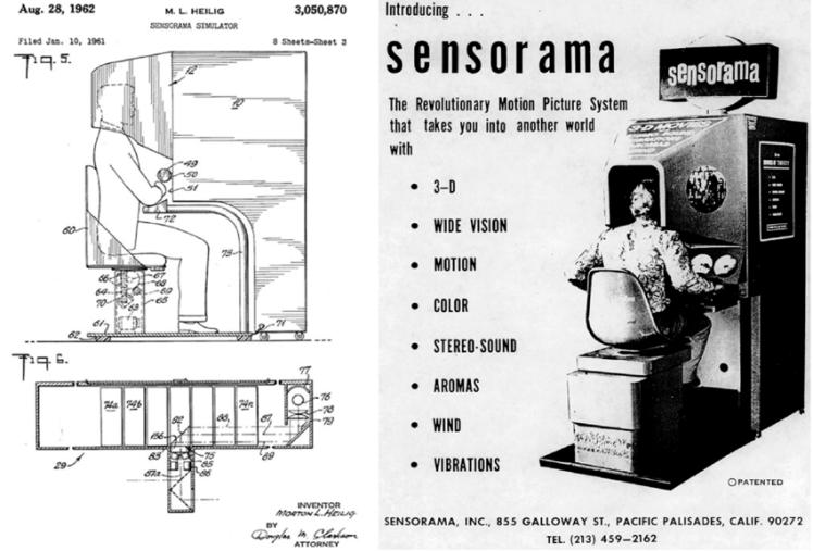 Первый в мире виртуальный симулятор «Сенсорама», запатентованный в 1962 году изобретателем Мортоном Хейлигом. В нем можно было «прокатиться» на мотоцикле по Нью-Йорку — на экране была видеозапись «от первого лица», сиденье вибрировало, динамик транслировал звуки оживленной улицы, в камеру поступали запахи.