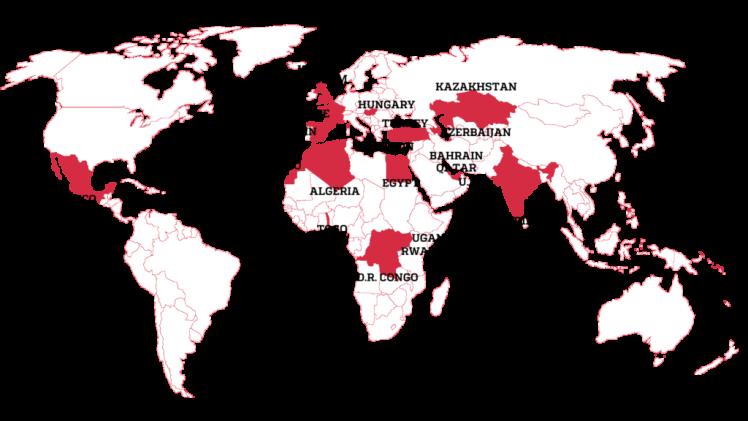 Forbidden Stories опублікувала карту з країнами, в яких жертвами шпигунського ПЗ стали журналісти.