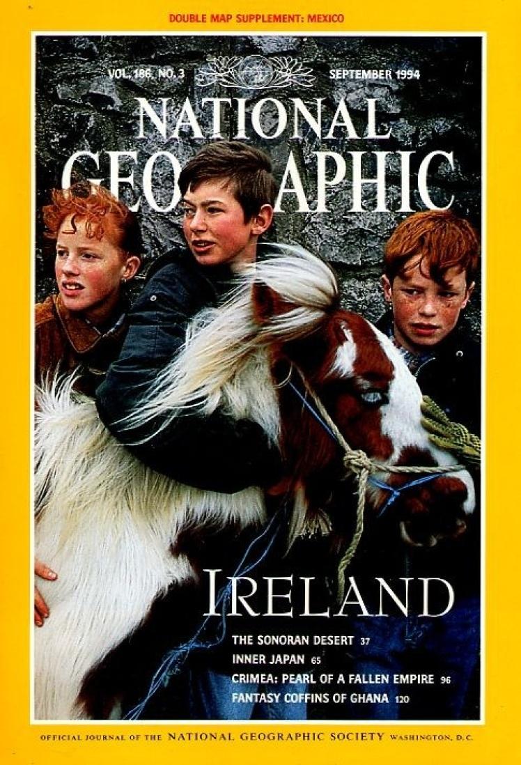 Вересень 1994 року. На фото троє ірландських підлітків з поні. Тоді в центрі Дубліну ще можна було зустріти вози, запряжені кіньми.