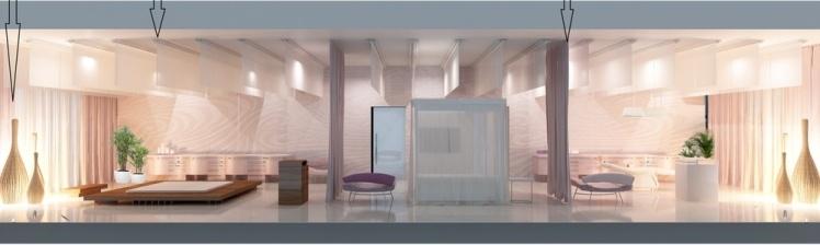 Подіум для тайського масажу, а в центрі кімнати — ліжко, зашторене тюлевим балдахіном.
