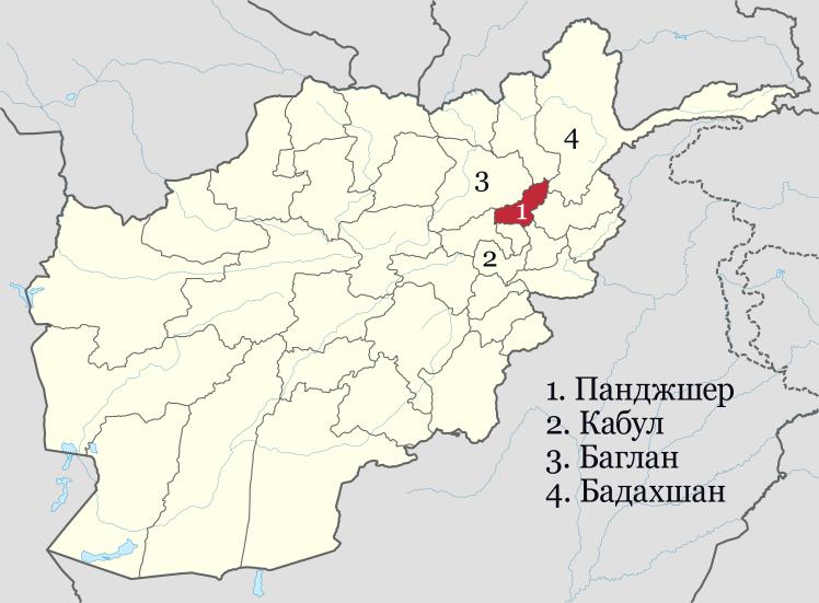 Чотирі найбільші  таджикські провінції на мапі Афганістану.