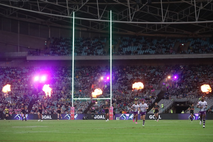 Глядачі на трибунах стадіону ANZ в Сіднеї під час фіналу Національної регбійної ліги, 25 жовтня 2020 року.